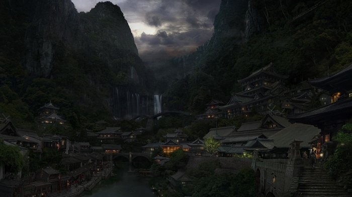clouds, lights, city, river, bridge, China, mountain, fantasy