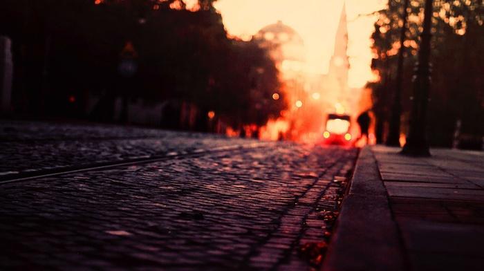 city, warm colors, urban, fall, cobblestone, road, tram