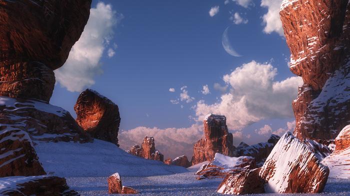desert, rocks, winter, stones, canyon, 3D