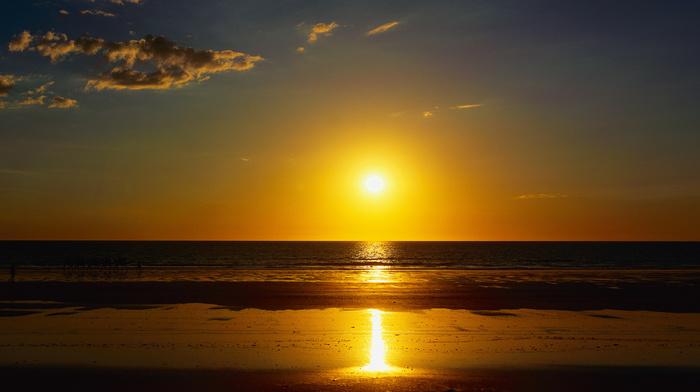 ocean, beach, summer, nature, sand, sea, sunset, Sun