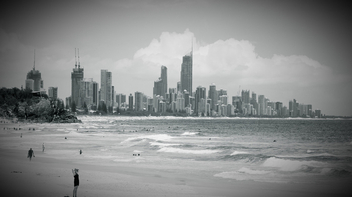 sky, clouds, city, beach, high-rise buildings, ocean, cities, water