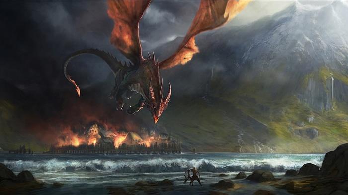lake, fire, village, dragon, mountain, fantasy, city