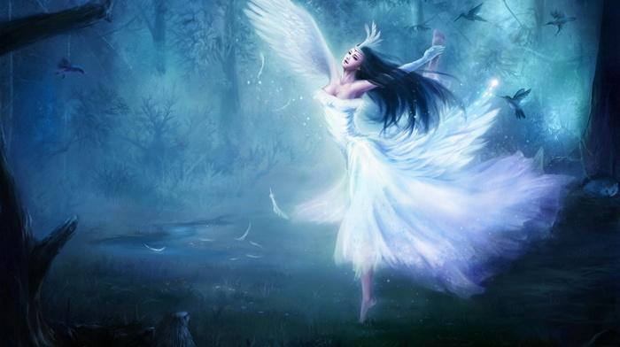 angel, forest, birds, girl, wings, fantasy