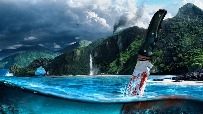 sea, mountain, knife, blood, video games
