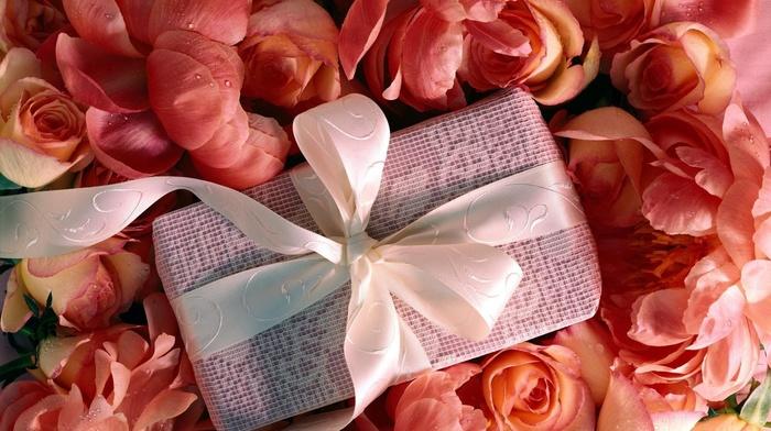 flowers, gift, box, roses