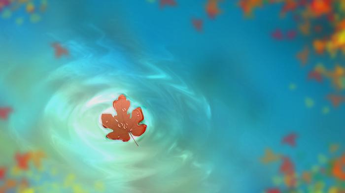 autumn, art, stunner, drawing, water, drops