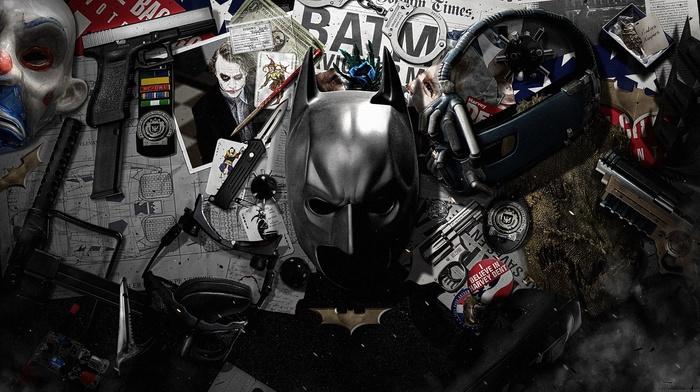 handcuffs, MessenjahMatt, Bane, knife, gun, Joker, Batman, cards