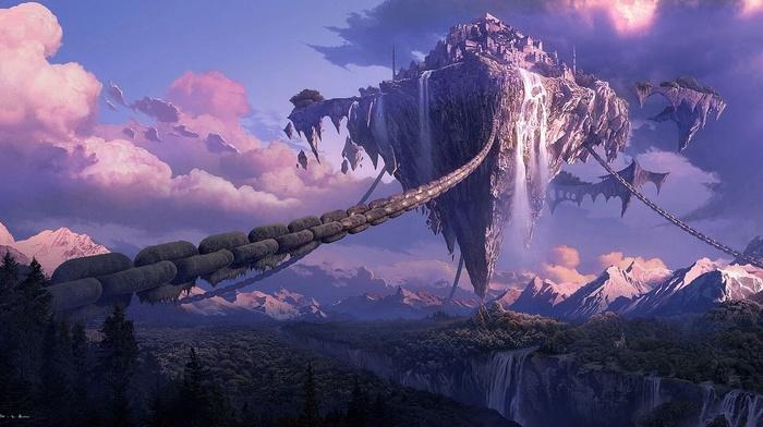 forest, art, city, fantasy, mountain, canyon