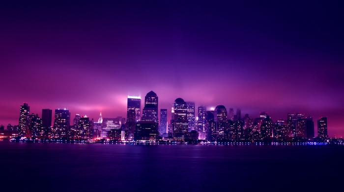 cities, city, lights, skyscrapers, night