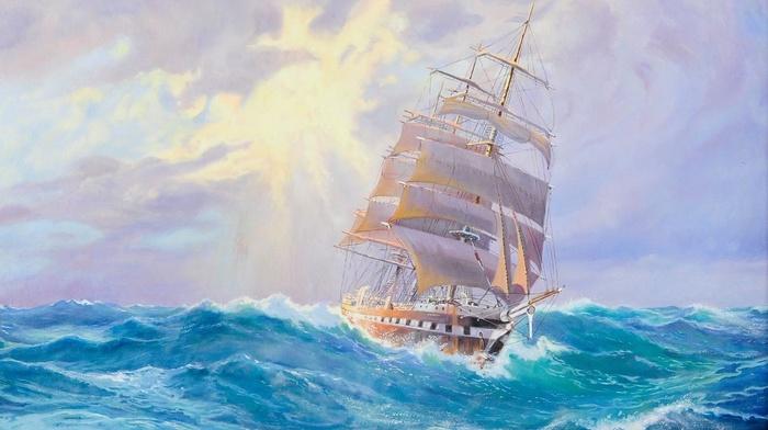 stunner, ship, sailfish, waves, sea