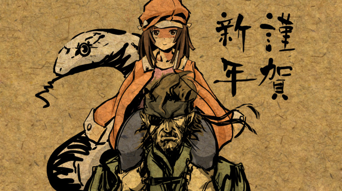 monogatari series, Metal Gear Solid, anime, Sengoku Nadeko, Big Boss, snake