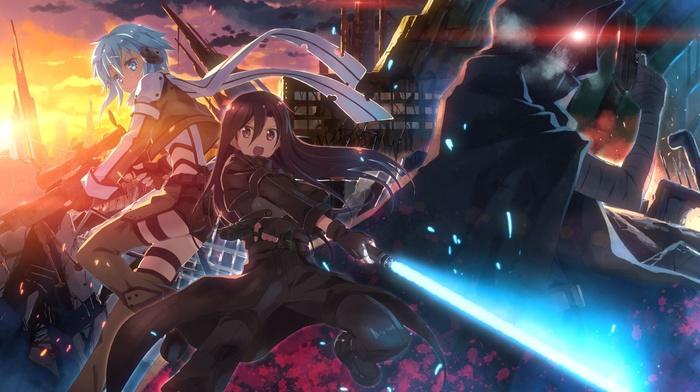 sword art online, anime girls, Kirigaya Kazuto, sword, gun, Asada Shino, blue hair, anime, Yuuki Tatsuya