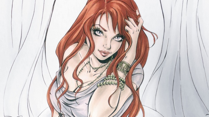 Mary Jane, redhead, artwork, girl