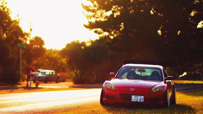 morning, Mazda RX, 8, red cars, old car, Project CARS, Mazda, sports car, drift, car, evening, lights