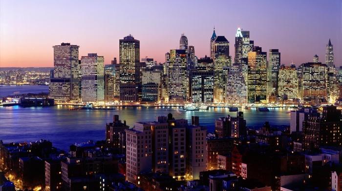 skyscrapers, river, night, cities, lights, city, wallpaper, New York City