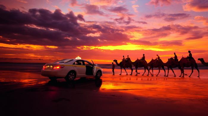 creative, sunset, desert, clouds