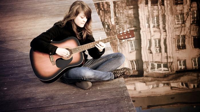 stunner, guitar, mood, girl