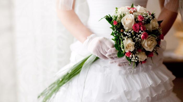stunner, roses, bouquet, dress