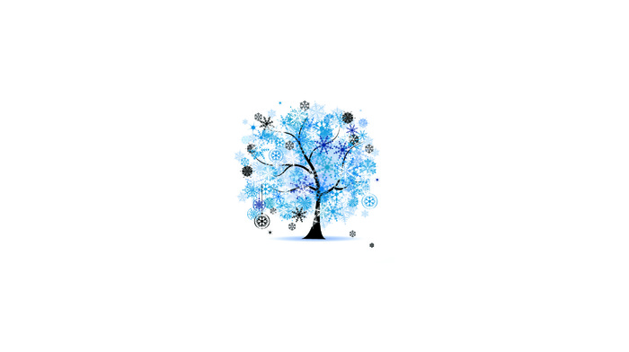 winter, frost, tree, snowflakes, minimalism