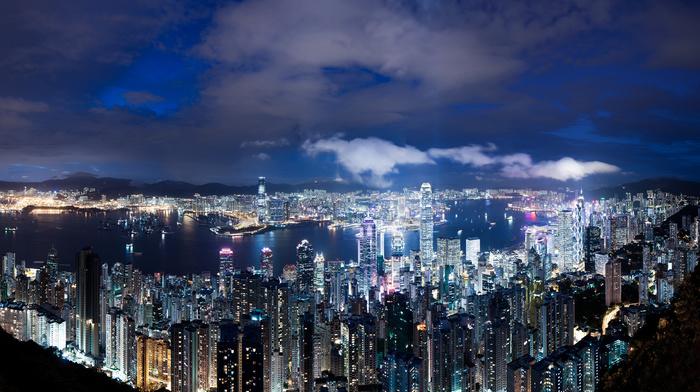 China, night, lights, cities, skyscrapers
