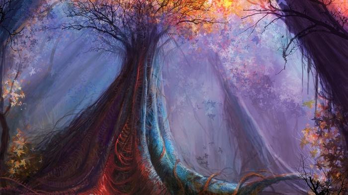 art, trees, forest, colors, stunner