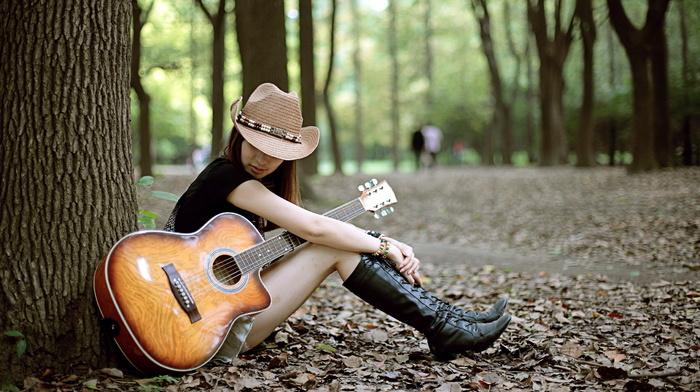 stunner, guitar, girl, mood