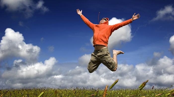 joy, man, happy, mood, bounce, stunner, fly