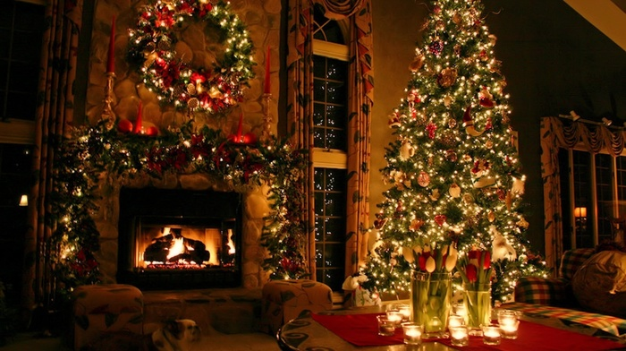 holiday, fir-tree, creative, fireplace, candles, gifts, winter, toys, light, fire