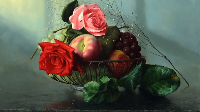 roses, stunner, fruits, painting