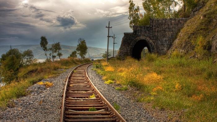 Технологии, трек, железнодорожный, поезд, транспорт, линия