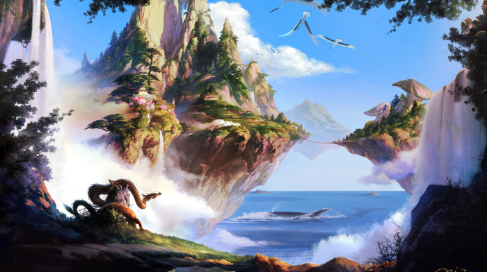 dragon, art, fantasy, nature, sea, bridge