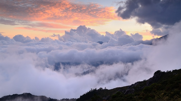 sky, nature, mountain, clouds, height