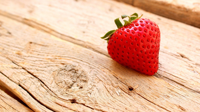 macro, tree, board, strawberry, delicious