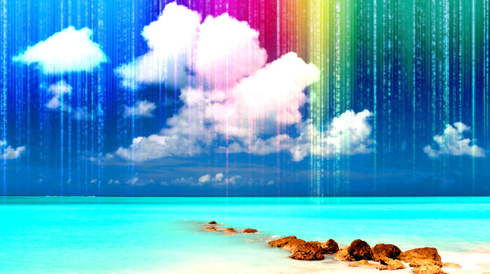 colors, sea, 3D, rest, sand, rainbow