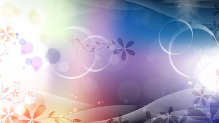 gradient, flowers, 3D