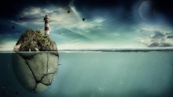 rock, sea, planets, birds, 3D, art, lighthouse