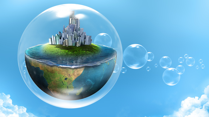 planet, water, creative, 3D, city, clouds