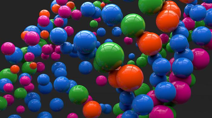 reflection, balloon, balloons, 3D, gray background, art