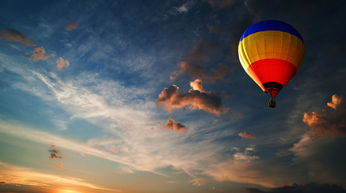 sky, yellow, red, stunner, sports, clouds, azure, blue, height, evening, colors