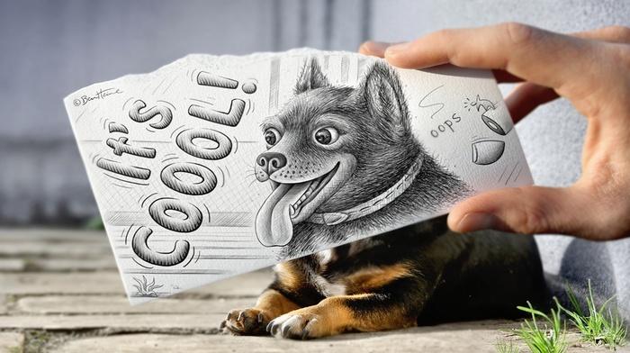 inscription, dog, animal, hand, drawing, animals