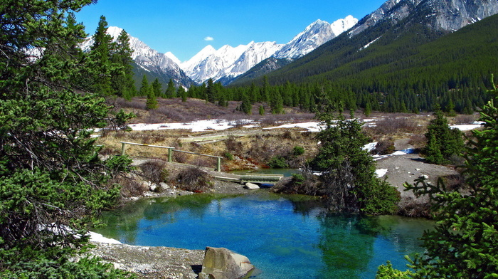 snow, landscape, spring, mountain, lake, forest, nature