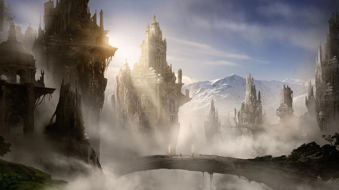 mountain, rocks, bridge, city, fantasy, art, castle, mist