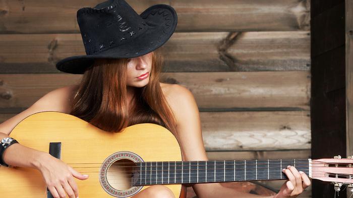 hat, guitar, girl, music