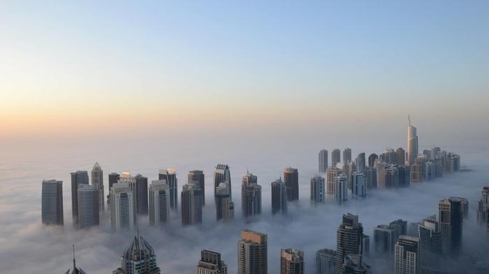 height, cities, mist, skyscrapers, Dubai, morning