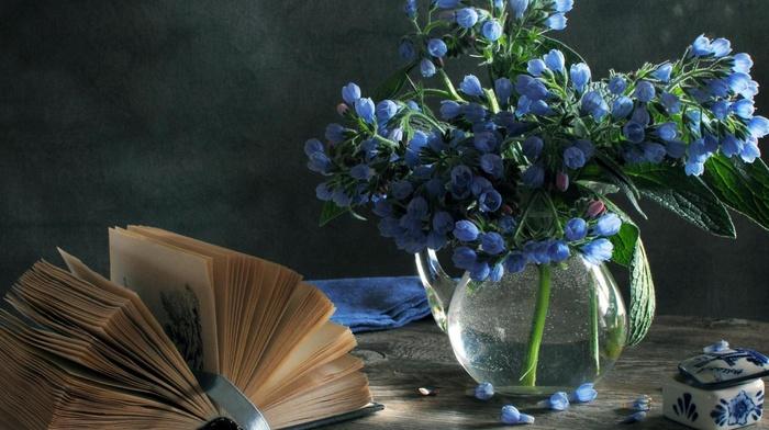 vase, book, flowers, still life