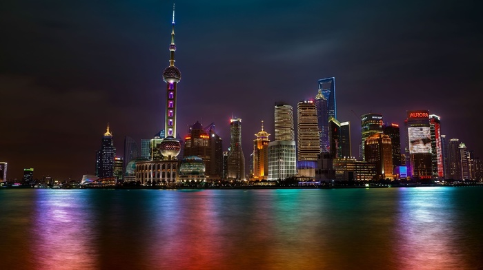 cities, light, high-rise buildings, night, China, lights