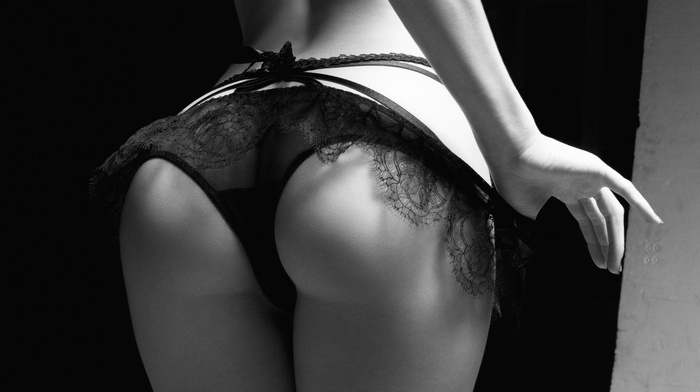 model, black and white, panties, booty, girls, girl
