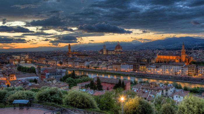 evening, Italy, sunset, panorama, cities