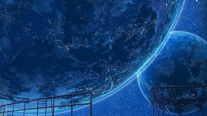Earth, lights, space, planets, sky, art, stars, plants