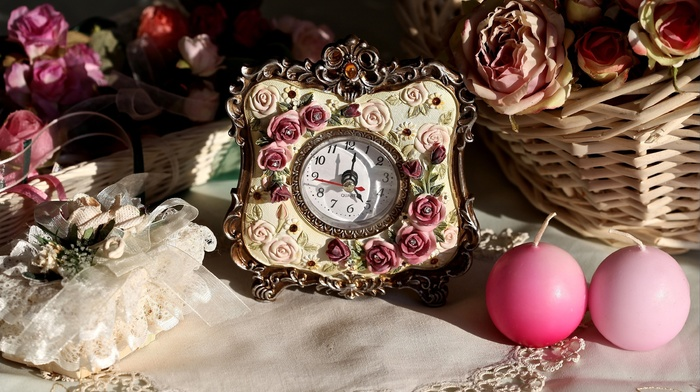 roses, candles, stunner, clocks